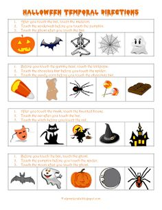 "These FREE ""before"" and ""after"" temporal directions have a Halloween theme.  For example: ""After you touch the bat, touch the skeleton.""  I use these worksheets to target following directions with basic concepts from the CELF-4 assessment."