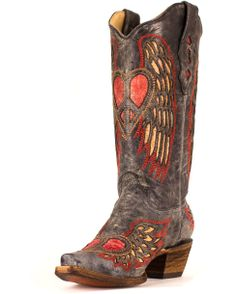 Corral Women's Black/Antique Saddle Wing & Heart Boot - A1975