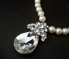 Bridal Necklace Ivory Swarovski Pearls Teardrop by DivineJewel