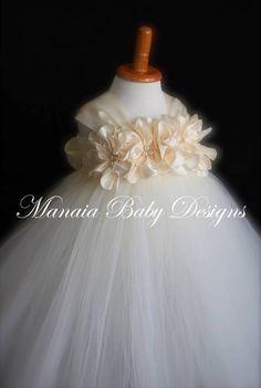 COLOR OF DRESS Can Be Changed / Ivory Flower Girl Dress / Ivory Flower Girl Dresses, Flower Girl Tutu, Ivory Dresses, Confirmation Dresses, Baptism Dress, Robes Tutu, Satin Flowers, Ivoire, Baby Design