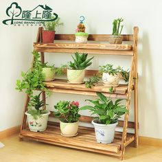 Long Long Floor solid wood flower pots on a simple folding showy living room balcony indoor and outdoor multi-ladder racks
