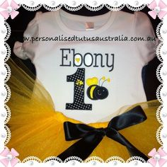 Oh My!! 2015 has arrived so quickly and we have so many new things to share with you all!   The very first releasefor the New year from Personalised Tutu's Amore Australiais our bumble bee design in yellow and black. This dress up party outfit isperfect for Baby Girls and toddlers1st Birthday themeand Cake Smash Photographs.    This design has been made to co-ordinate with a birthday party theme in the colours of black and yellow, however it will still match in wi