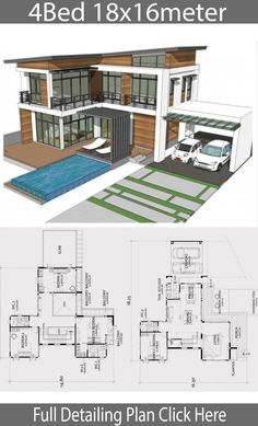 haus design Home design plan with 4 bedrooms. Two-story house Modern Contemporary style Lay out the building layout So that every room can ventilate well. Modern House Floor Plans, My House Plans, Home Design Floor Plans, Contemporary House Plans, Bedroom House Plans, Modern Contemporary, Beach House Floor Plans, Villa Plan, Big Modern Houses
