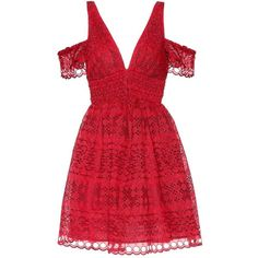 Self-Portrait Sheared Mini Dress ($430) ❤ liked on Polyvore featuring dresses, red, red dress, short red dress, self portrait dress, short dresses and red mini dress