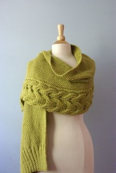 The Reversible Aspen Wrap in Ochra - READY TO SHIP | PreciousKnits - Knitting on ArtFire