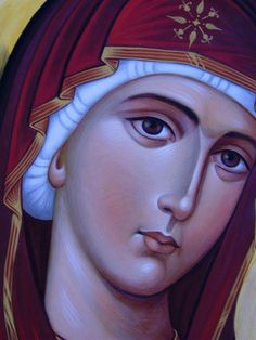 Detail of the Theotokos Mary, the mother of God