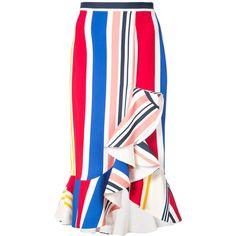 Semsem striped ruffle skirt ($600) ❤ liked on Polyvore featuring skirts, white, high-waist skirt, high-waisted skirt, white frilly skirt, white skirt and frilled skirt