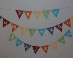 Items similar to Feliz Cumpleanos, Feliz Cumpleanos Banner, Birthday Banner, Spanish Birthday Banner on Etsy Cumple Toy Story, 30th Birthday, Birthday Ideas, Birthdays, Banner, Artsy, Rainbow, Handmade Gifts, Diy
