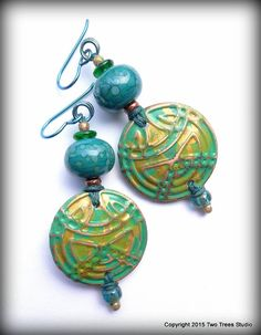 Handcrafted artisan colored copper and lampwork earrings, OOAK, tribal, Boho, dramatic, elegant, lightweight