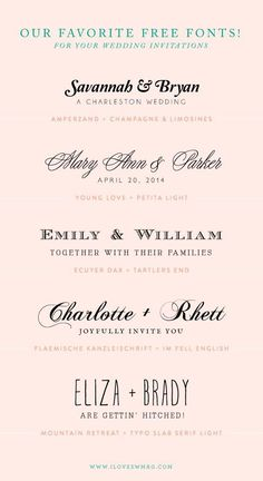 free font combinations for wedding invitations! CLICK THIS LINK AND THERE ARE A TON OF CUTE QUOTES FOR ORGANIZING tables at the reception! http://southernweddings.com/2013/08/02/sponsored-post-24-hour-print-plus-tips-for-creating-your-wedding-invitations/?utm_content=bufferbc467&utm_medium=social&utm_source=pinterest.com&utm_campaign=buffer
