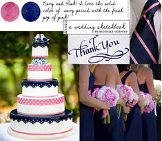 Navy and Pink wedding i LOVE this cake