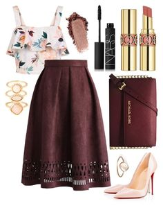 """""""Floral Top"""" by kk-purpleprincess ❤ liked on Polyvore featuring New Look, Christian Louboutin, Chicwish, Michael Kors, Monsoon, Parisi, Yves Saint Laurent and NARS Cosmetics"""