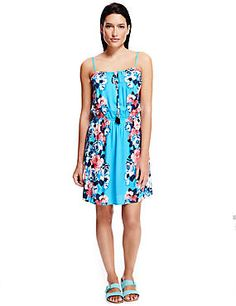 Blue Mix Floral Fit & Flare Beach Dress