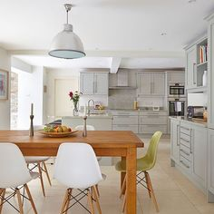 The palest shade of grey creates a calm backdrop for this open plan kitchen. http://www.housetohome.co.uk/kitchen/picture/open-plan-grey-kitchen-diner#E0qLkq6msjve3qlb.32