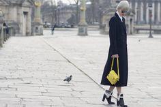Black coat. Box bag. | Vogue | photo by Dvora