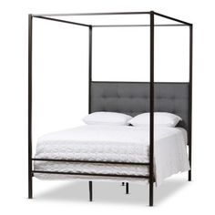 Baxton Studio Eleanor Vintage Industrial Black Finished Metal Canopy Queen Bed