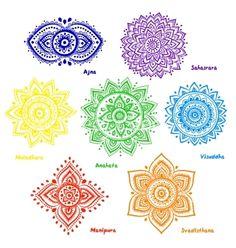 Set of 7 chakras. Isolated set of beautiful ornamental 7 chakras. 7 Chakras, Maori Tattoos, New Tattoos, Chakra Symbole, Mandala Arm Tattoo, Colorful Mandala Tattoo, Chakra Meanings, Chakra Meditation, Meditation Art