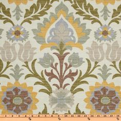 Waverly Santa Maria Pebble from @fabricdotcom  Screen printed on cotton duck; this medium weight fabric is very versatile. This fabric is perfect for window treatments (draperies, valances, curtains, and swags), bed skirts, duvet covers, pillow shams, accent pillows, tote bags, aprons, slipcovers and upholstery. Colors include olive, slate, golden yellow, mocha and sage on an ivory background.