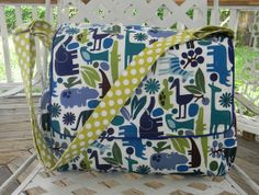 Extra Large Boutique Diaper Bag  2d zoo  in Blue by CHICBAZAR