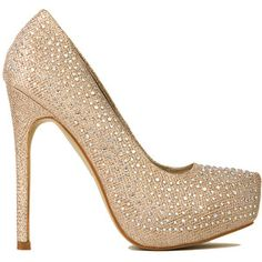 Crystal Platform Pumps in Champagne Glitter