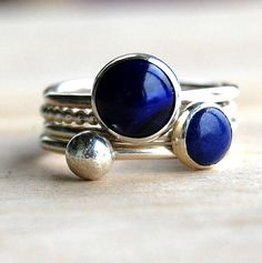 ocean lapis lazuli handmade stacking rings by alison moore silver designs | notonthehighstreet.com