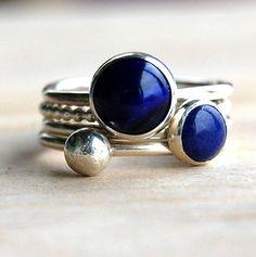 ocean lapis lazuli handmade stacking rings by alison moore silver designs | notonthehighstreet.com