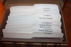Receipt organization - I do something similar but I use a shoe box and I use trimmed file folders for tabs Receipt Organization, Organizing Paperwork, Home Office Organization, Paper Organization, Organization Ideas, Lowes Home Depot, Paper Clutter, Making Life Easier, Staying Organized
