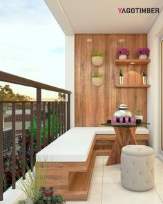 Get Interior Design Tips for Decorating a Small Balcony from Yagotimber. #balcony #interiordesign #homedesign