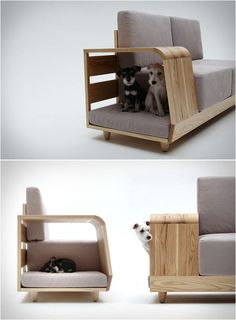 Modern love-seat with attached doghouse.