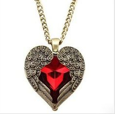 """Red Heart & Angel Wings Crystal Vintage 26.5"""" Long Sweater Necklace Pendant New #Unbranded #Pendant"""