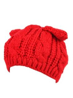 Shop Red Cat Ears Knit Beanie Hat from choies.com .Free shipping Worldwide.$9.59