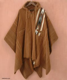 de6153e5e74 Poncho Cloak Alpaca Wool 100% Andes Brown Mens Handmade Hooded NOVICA Peru  in Clothing