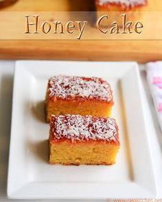 Eggless Indian bakery style Honey cake recipe with full video and step by step pictures!