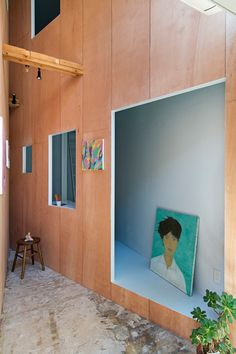 persimmon hills architects has converted an illegal sex shop in japan into a studio and gallery space that measures just 20 square meters. Residential Architecture, Interior Architecture, Interior Design, Partition Screen, My Coffee Shop, Space Gallery, Art Gallery, Inside Outside, Amazing Buildings