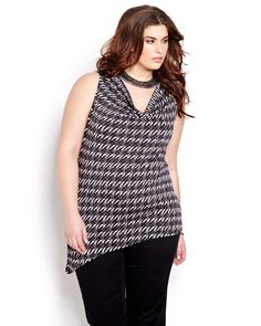 Elegant sleeveless top by Michel Studio is the perfect way to work the asymmetric trend into your weekday style. Plus size, cowl neck, 27 inch length at the shortest. We love it with a sleek capri, soft pant or even chic pair of dark wash jeans for casual Fridays.
