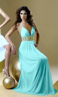 light blue long prom dress