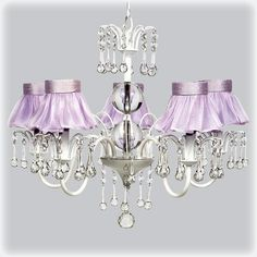 Petite Chic White 5 Light Chandelier with Lavender Ruffle Shades from @PoshTots