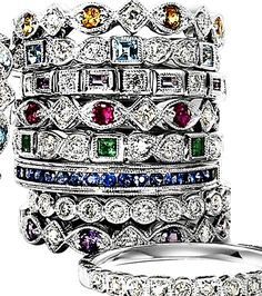 stackables - for an anniversary - with kids birthstones