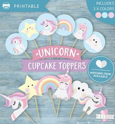 Unicorn,printable,cupcake toppers,unicorn party decorations,unicorn cake decoration,unicorn cupcake topper,rainbow cupcake topper,pretty inc Unicorn Themed Birthday Party, Birthday Favors, Unicorn Party, Birthday Party Themes, Unicorn Cake Decorations, Unicorn Cupcakes Toppers, Unicorn Cake Topper, Classroom Birthday, Unicorn Printables