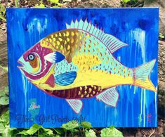 "Excited to share this item from my #etsy shop: Scales of Many Colors Sunfish, Artist's Original Art,  16"" x 20"" Archival Stretched Canvas Painting"