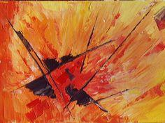 . . Peinture abstraite , acrylique sur toile au couteau La même technique est toujours utilisée : gel , sable , couleurs primaires , couteau . . .