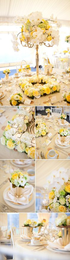 yellow and white wedding table top design from Woodmark Weddings and Fena Flowers, images by Junebug Weddings