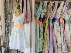 Summer dresses made from vintage bed sheets.