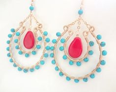 Gold Earrings Turquoise Aquamarine Crystals  Wire Wrapped