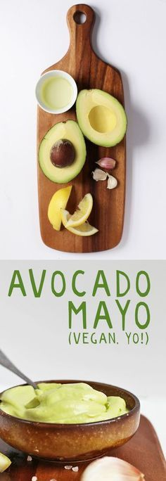 This Avocado Mayo is vegan, soy free, AND oil free for a healthy, delicious, and creamy spread (recipes for snacks diet) Vegan Sauces, Vegan Foods, Vegan Dishes, Vegan Meals, Whole Food Recipes, Cooking Recipes, Avocado Dessert, Vegetarian Recipes, Healthy Recipes