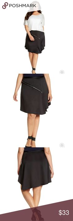 "Asymmetric zipper skirt A symphony of asymmetry in a chic mix of crepe and satin, Lane Collection's zipper skirt is a modern must. The angled cut and side gores add feminine movement and a fresh attitude to elevate your work to weekend look. Fully lined. Hidden side zipper with hook & eye closure. 26"" long Lane Bryant Skirts"