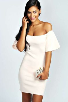 Ruby Off The Shoulder Ruffle Sleeve Bodycon Dress is on sale now for - 25 % !