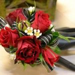 Spray Rose Wrist #Corsage Price:  $22.98 5 Spray rose blooms with white wax flowers and black ribbon