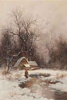 Winter in Lyon, oil on panel by Adolf Kaufmann, 1848-1916, Austrian-born German artist. Kaufmann was initially self-taught and completed his study in Paris. He was known for his landscapes and marine scenes. Kaufmann's paintings were most often purchased by representatives of the aristocracy for people like Napoleon III, Archduke Friedrich and Tsar Nicholas II. For a time, Kauffman gave art lessons for women in Vienna along with painter Carl Freiherr von Merode.: