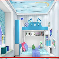 Custom photo ceiling murals wallpaper home decor painting Cartoon blue sky moon star wall murals wallpaper for living room